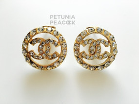 CHANEL CRYSTAL FILLED ROUND CC LOGO EARRINGS