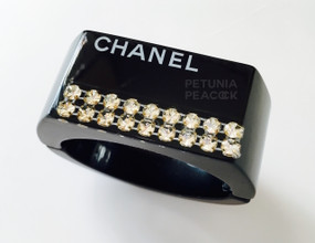 CHANEL BLACK LUCITE & CRYSTAL CUFF BRACELET