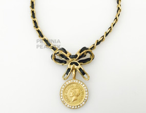 CHANEL COCO COIN & BLACK PATENT LEATHER NECKLACE