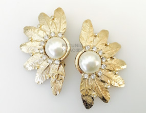 CHANEL CREAMY PEARL, CRYSTAL & FEATHER EARRINGS