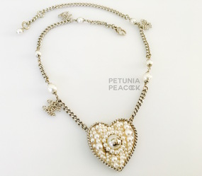 CHANEL PEARL FILLED MEDALLION W/ CC LOGO CHARMS NECKLACE