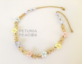 CHANEL CRYSTAL STUDDED PASTEL FLOWER & CC LOGO NECKLACE