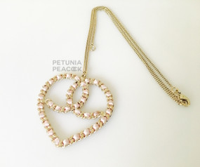 CHANEL BABY PINK & GOLD HEART CC LOGO MEDALLION NECKLACE