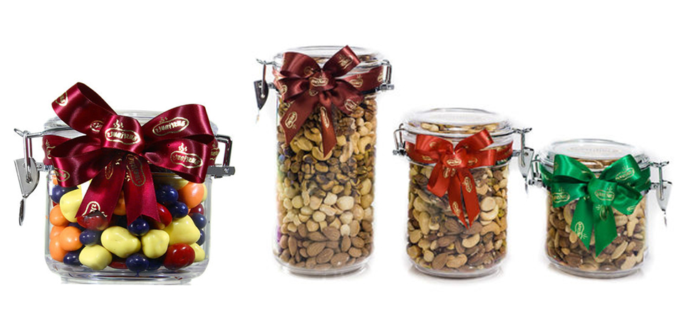 Customize any of these collectible jars and tins with our delicious gourmet dry-roasted nuts, chocolates, and candy for a treat that everyone will enjoy.