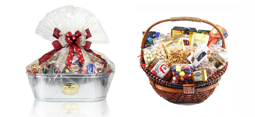 """Gift baskets are the perfect surprise for any occasion, especially for those who """"have everything!"""" Customize your gift basket with dry-roasted nuts, chocolates, and candy for a delicious gift that will put a smile on everyone's face."""