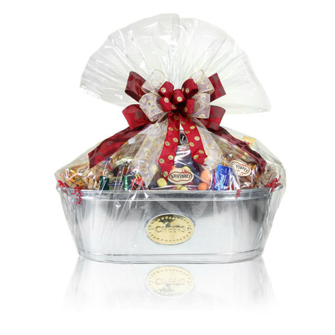 When ordinary needs to be extraordinary! Filled with an assortment of nuts, chocolates, and gourmet products this elegant basket is big enough to satisfy everyone's needs. Once the treats are gone, this beautiful silver basket can be used as a decorative item for any room in the house.