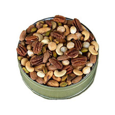 A great gift for yourself or gathering. Tin filled with fresh dry roasted deluxe nut mix.