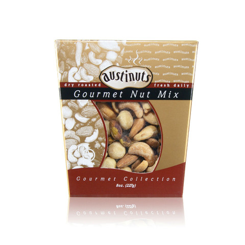 austiNuts Gourmet Collection - Salted Gourmet Nut Mix is a lovely mix for any occasion!   Contains: Salted Almonds, Salted Cashews, Salted Macadamia Nuts, Salted Pistachio Kernels  Weight: 8 oz.
