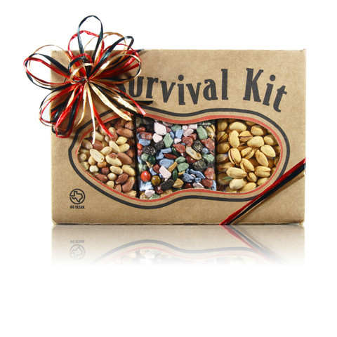 austiNuts Party Mix Survival Kit has a little bit of everything to please everybody!  Contains: Cayenne Pistachios, Chocolate Rocks & Salted Peanuts