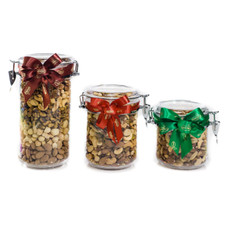 austiNuts acrylic jars are a great Thank You gift for anyone. Once you have finished all the wonderful Gourmet Nuts you can reuse the jar!  Contains: Almonds, Cashews, Pecans, Pistachio Kernels, Brazil Nuts (nuts may vary)