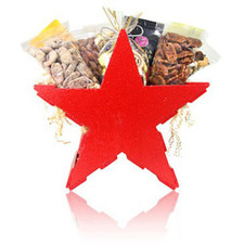 "Looking for an original Texas gift basket? Look no further! austiNuts Texas Star Basket is a great way to welcome someone to our great state or a fantastic ""Thank you"" gift for out of towners!  Contains: Smoked Almonds, Fancy Fruit & Nut Mix, Mesquite BBQ Pecans, Praline Pecans, Salted Pistachio in Shell, South of Border Mix, Manner Cream Filled Wafers, Ice tea & Ghirardelli Chocolate."