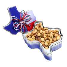 austiNuts Texas Collectible Tin with Gourmet Nuts & Chocolates  is a great souvenir from Texas! Available to ship anywhere in the United States.   Contains: Deluxe Nut Mix, Salted (Almonds, Cashews, Pecan Halves, Pistachios, and Macadamia Nuts) (Dry Roasted). Pastel Chocolate Covered Mix (Pastel Chocolate Covered Cherries, Pastel Chocolate Covered Blueberries, Pastel Chocolate Covered Shortbread, and Pastel Chocolate Covered Apricots).