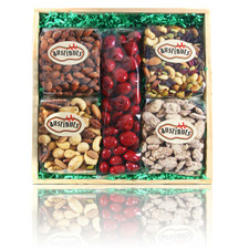 Wood Crate Gift filled with gourmet chocolate cherries, smoked almonds, praline pecans, and nut mixes