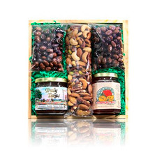 austiNuts Sweet, spicy and savory wood crate gift basket