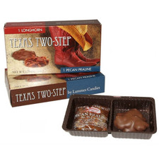 austiNuts carries Texas Two-Steps to help you complete your perfect gift basket, care package, or if you are just in the mood for chocolate.  Can't decide what you're in the mood for?  The Texas Two-Step has two different candies - one Longhorn (caramel and pecans in milk chocolate) and one Pecan Praline (caramel surrounding Texas pecans)
