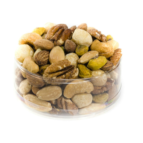 austiNuts popular snack mix will satisfy every nut lover. It is a good source of protein and mono-unsaturated fats no additives added Choice of Salted or Unsalted.  Contains: Almonds, Blanched Almonds, Hazelnuts, Cashews, Macadamia Nuts, Pecan Halves, Pistachio Kernels.