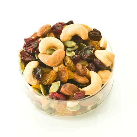 austiNuts Fancy Fruit & Nut Mix is a great mix of our fresh dry roasted nuts and dried fruits.    Contains: Almonds, Cashews, Pumpkin Kernels, Dark & Golden Raisins, Cranberries