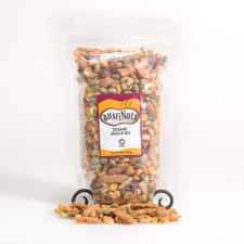 22 oz Resealable bag of our Sesame Snack Mix  Contains: Peanuts [peanuts, salt],sesame sticks [unbleached wheat flour (contains malted barleyas a natural enzyme additive), soybean oil, sesame seeds, bulgur wheat, salt, beet powder and turmeric], edamame [edamame, salt, soybean, oil] toasted corn [corn,one or more of the following higholeic oils, canola, safflower and or sunflower, salt], almonds [almonds, salt] and wild rice sticks [unbleached wheat flour, canola oil, puffed wild rice, salt and tumeric]  Allergy Alert: Packaged in a facility that processes tree nut, peanut, wheat, soybean and dairy products.   22 Oz. Bag