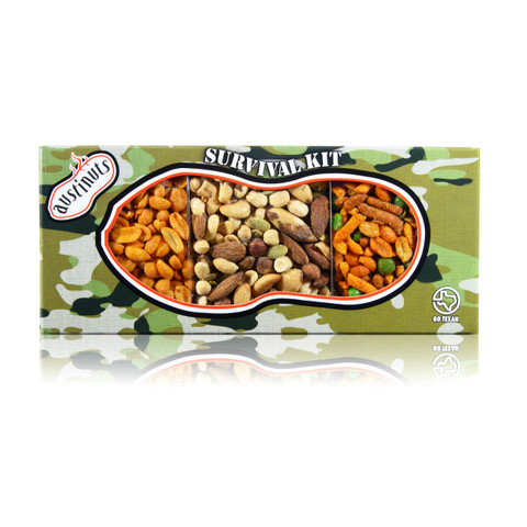austiNuts Triple Treats Camo Survival Kit is Filled with a delicious blend of our South of the Border Mix, Hot & Spicy Peanuts, and Salted Lone Star Nut Mix.