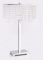 CRYSTAL AND CHROME TABLE LAMP