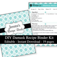 Blue Damask Printable Recipe Kit