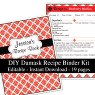 Red Damask Printable Recipe Kit