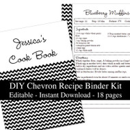 Black Chevron Printable Recipe Kit