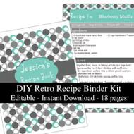 Retro Turquoise Printable Recipe Kit