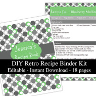 Retro Green Printable Recipe Kit
