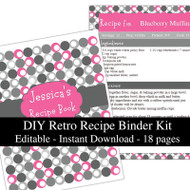 Retro Pink Printable Recipe Kit