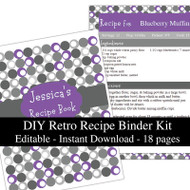 Retro Purple Printable Recipe Kit