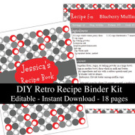 Retro Red Printable Recipe Kit