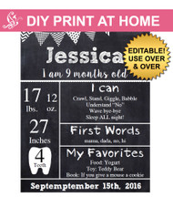 Monthly chalkboard Printable Poster