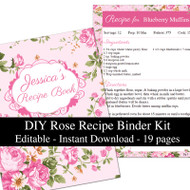 Pink Roses Printable Recipe Kit
