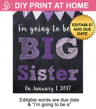 Purple Big Sister Editable Printable Poster