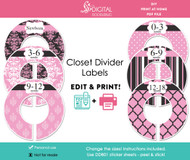 Pink Damask Printable Closet Dividers