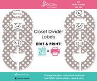 Gray Polka Dot Printable Closet Divider Label Template