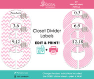 Pink Elephant Printable Closet Dividers