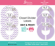 Purple Elephant Printable Closet Dividers