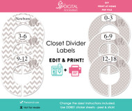 Gray Elephant Printable Closet Dividers