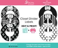 Black Damask Printable Closet Dividers