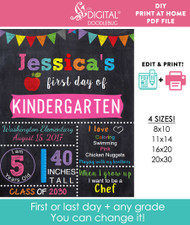 Editable Pink Girls School Sign Printable Poster