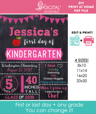 Editable Pink School Sign Printable Poster