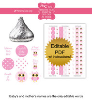 Pink Owl Printable Baby Shower Stickers