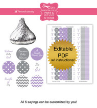 Purple & Gray Printable Candy Stickers