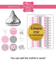 Pink Elephant Printable Baby Shower Stickers