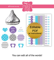 Purple & Blue Baby Footprint Printable Stickers