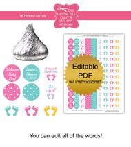 Baby Girl Footprint Printable Stickers