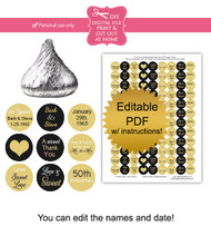 50th anniversary Printable Candy Stickers