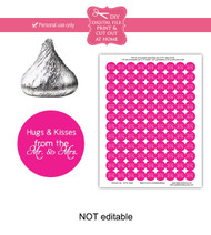 Pink hugs & kisses Printable Candy Stickers